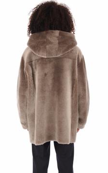 Manteau peau lainée Hélios taupe