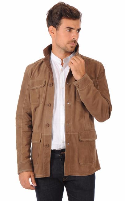 veste saharienne en cuir velours la canadienne la canadienne veste 3 4 nubuck et daim camel. Black Bedroom Furniture Sets. Home Design Ideas