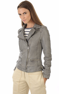 Blouson Cuir Style Perfecto Gris1