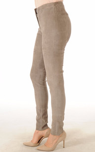 Pantalon Cuir Agneau Stretch Velours Gris
