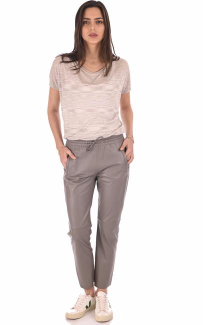 Pantalon jogpant cuir taupe Oakwood