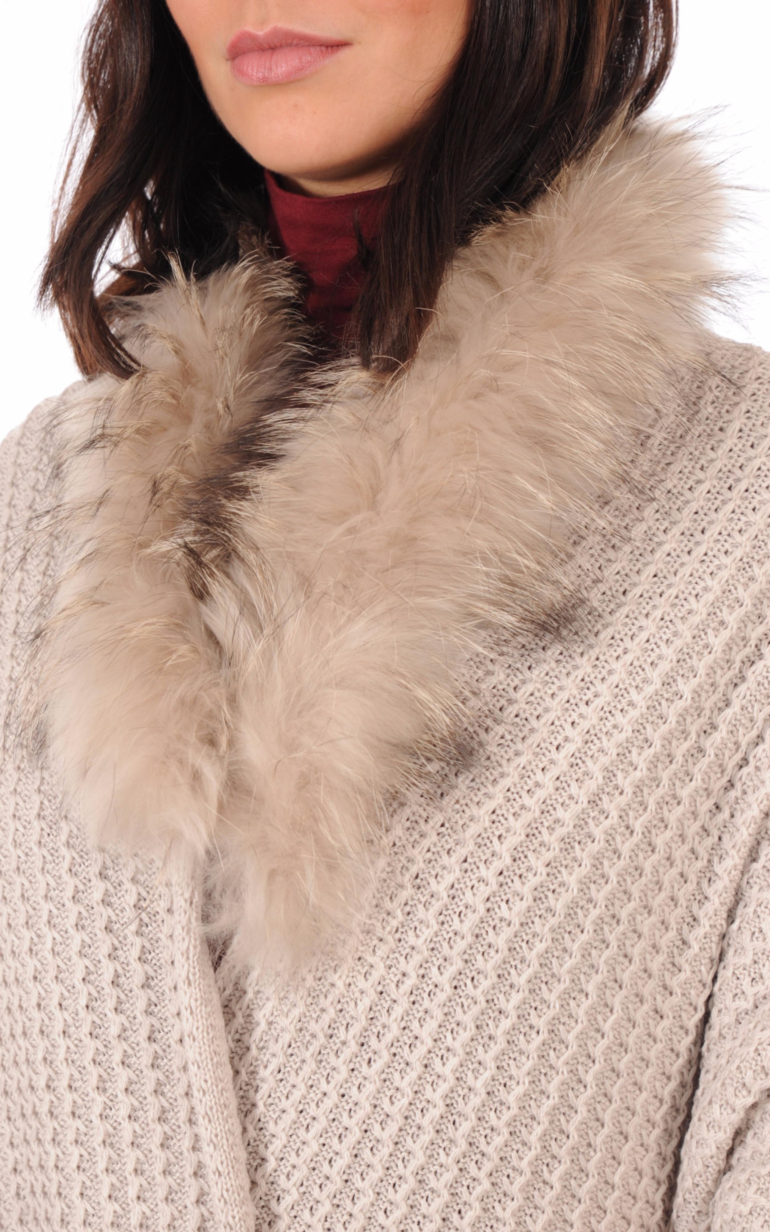 Maxi Echarpe Laine et Fourrure de Raccoon Femme Lea Clement - La ... 4db86ef5da2