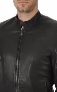 Blouson Cuir Agneau Noir Homme Giorgio