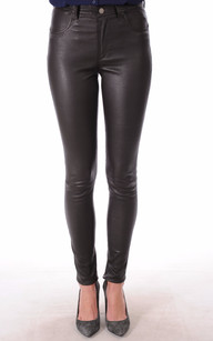 Pantalon Cuir Stretch Marron1