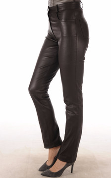 Pantalon Cuir Stretch Marron Coupe Droite