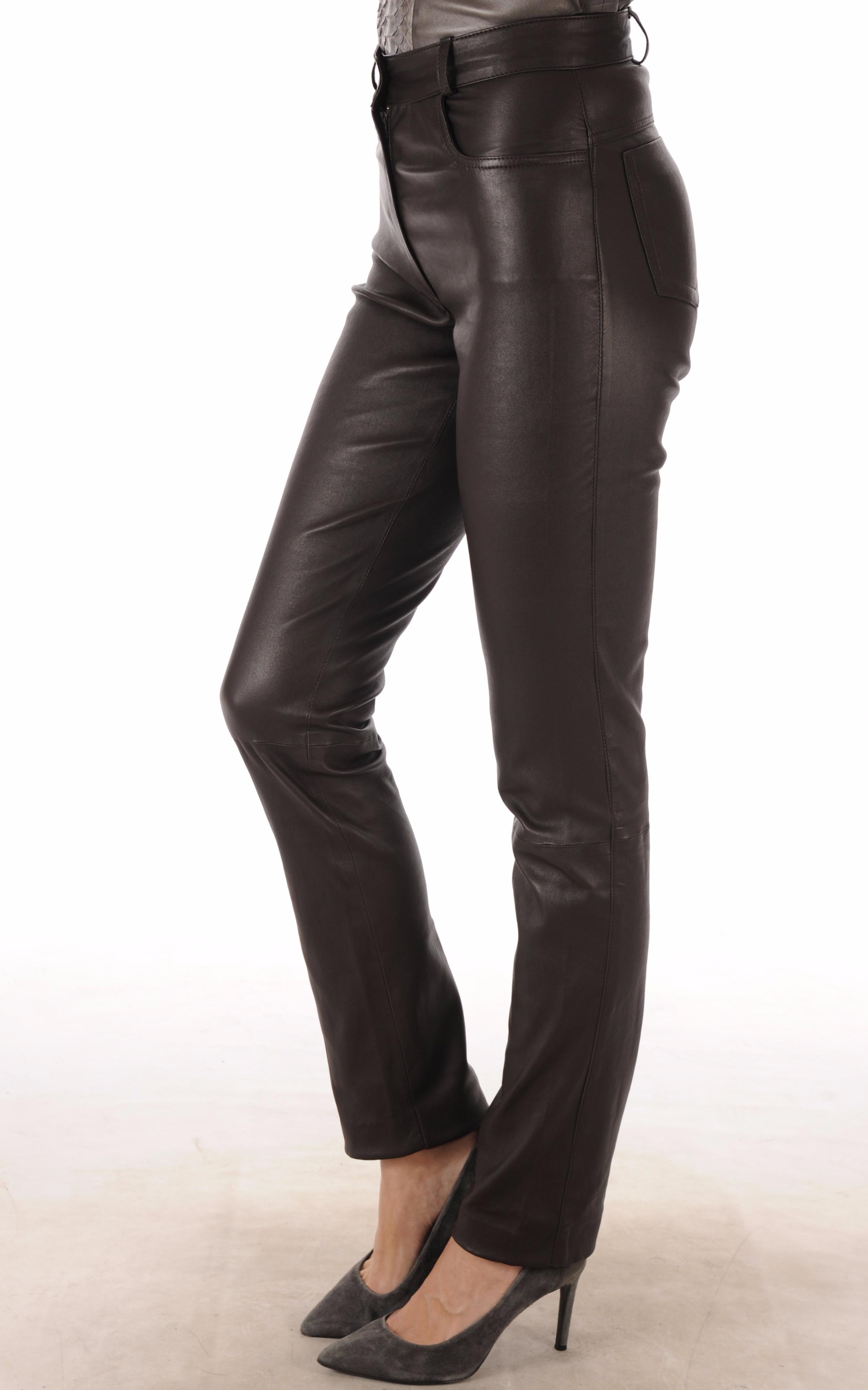 Pantalon Cuir Stretch Marron Coupe Droite La Canadienne