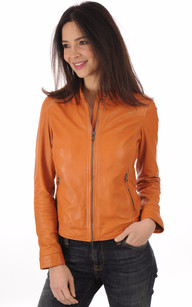 Blouson Cuir Souple Orange Femme1