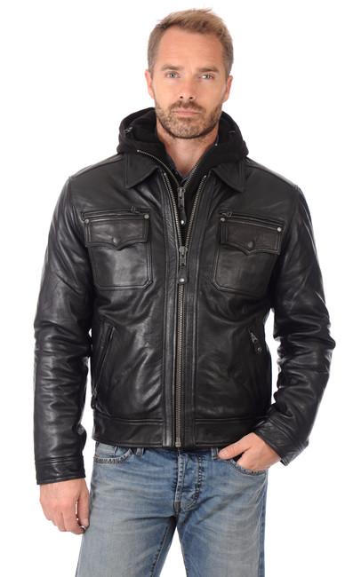 blouson cuir lc8102 noir homme schott la canadienne blouson cuir noir. Black Bedroom Furniture Sets. Home Design Ideas