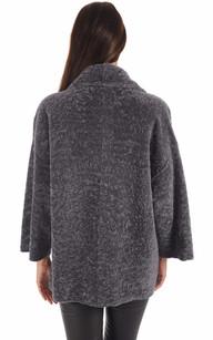 Veste Kimono Réversible Mouton Gris