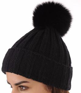 Bonnet en Maille et Fourrure Noir Hpi