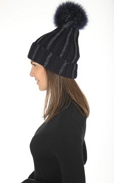 Bonnet en laine bleu marine