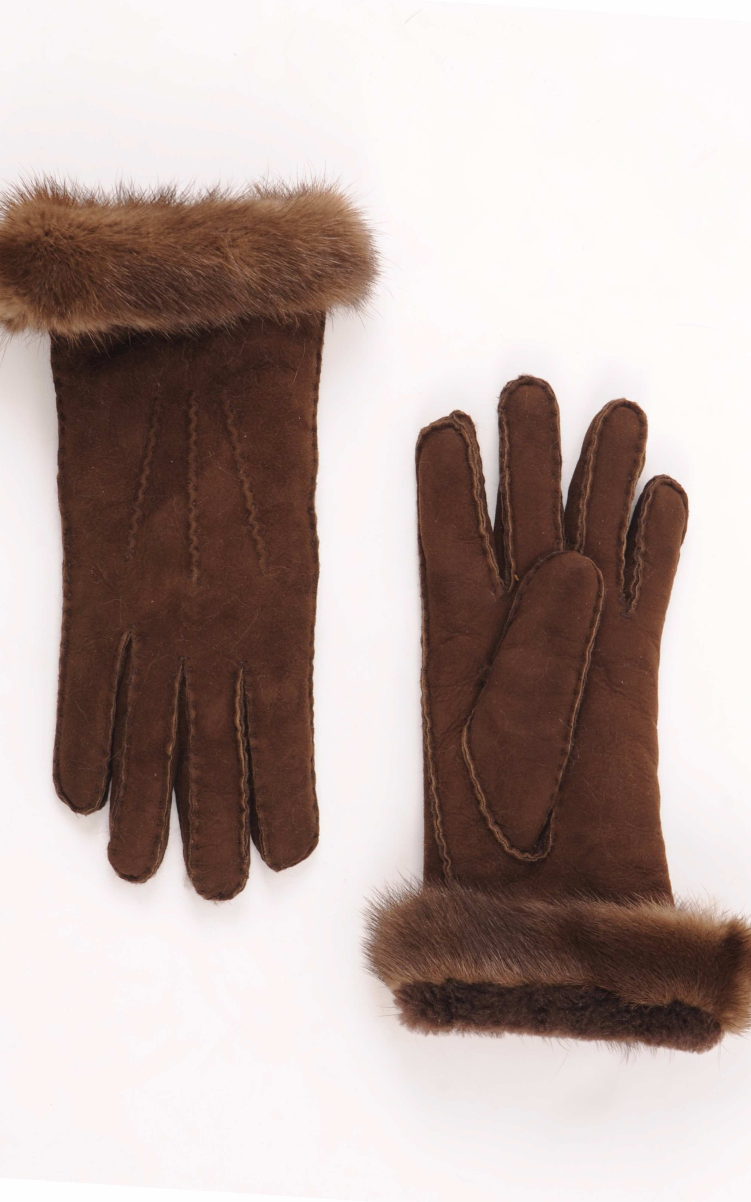 Gants Marrons Mérinos & Vison La Canadienne