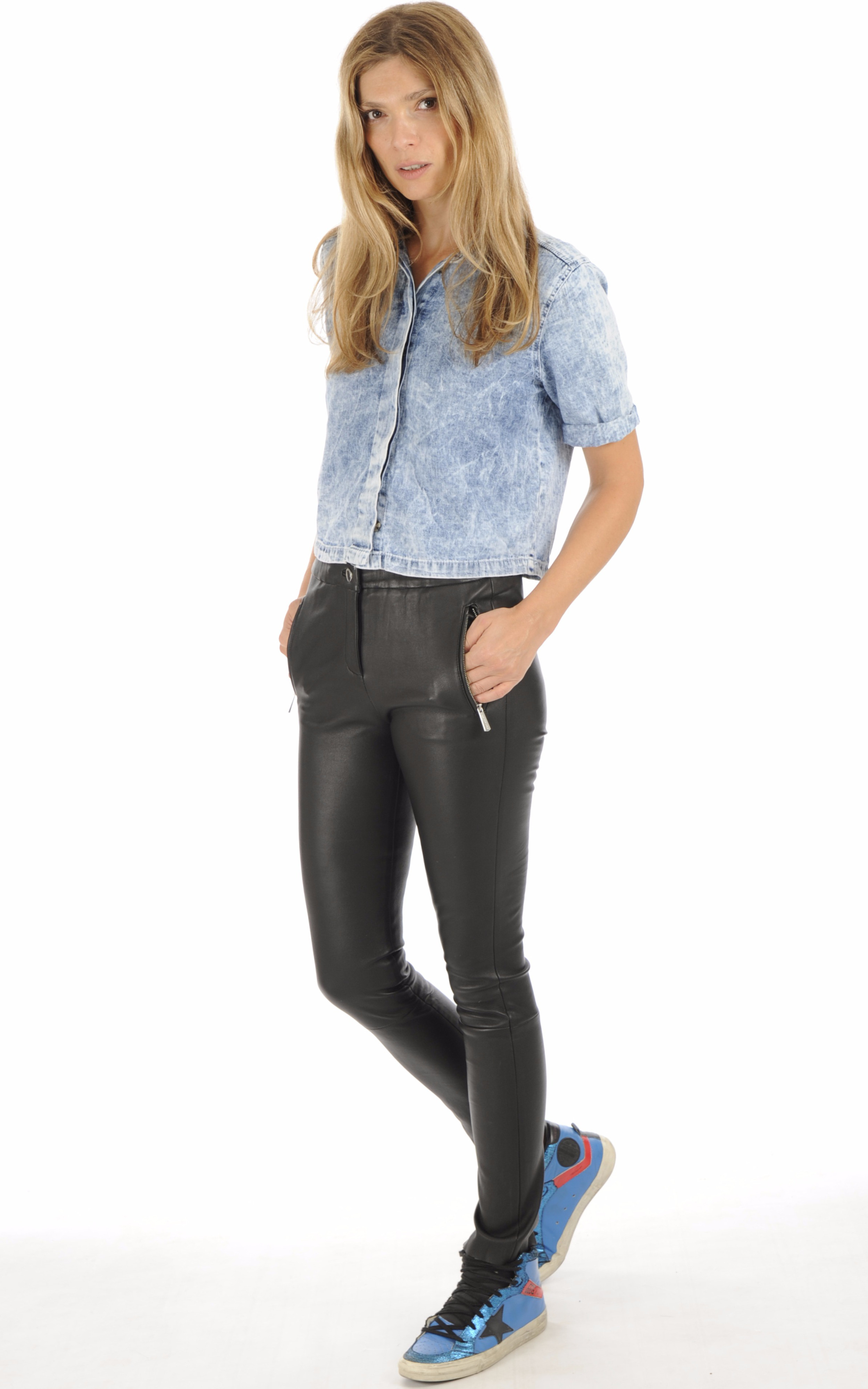 Pantalon Céleste agneau stretch noir Oakwood