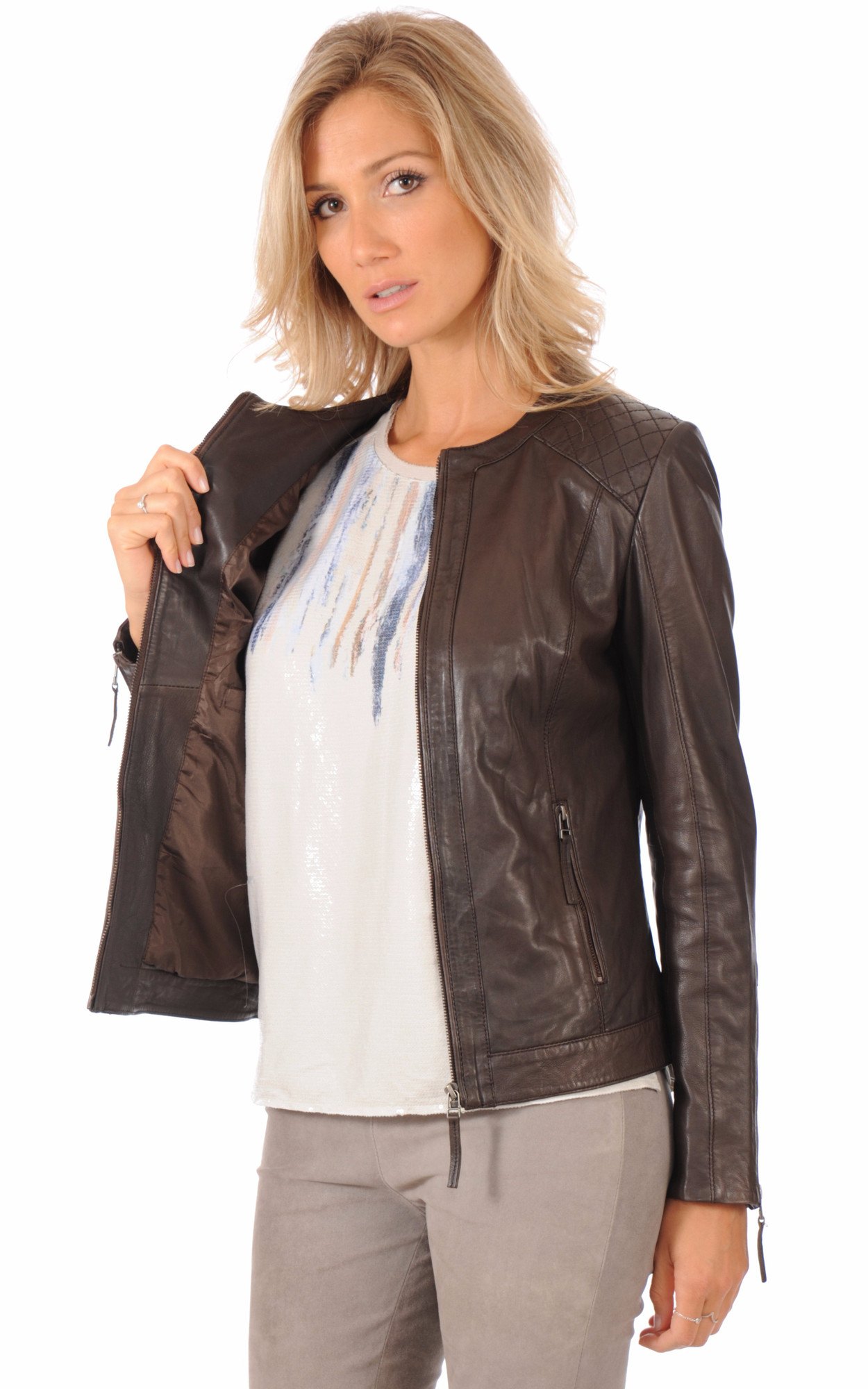 Blouson Spencer Cuir Marron