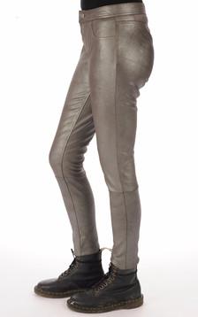 Pantalon agneau stretch gris métal