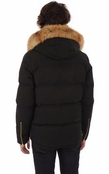Doudoune à capuche renard noire