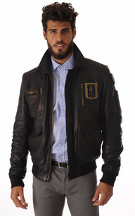 Blouson Cuir Noir Aviation Italienne