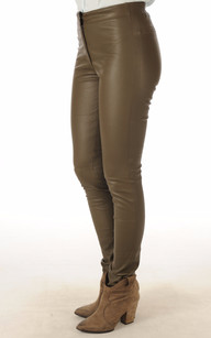 Pantalon Cuir Stretch Kaki