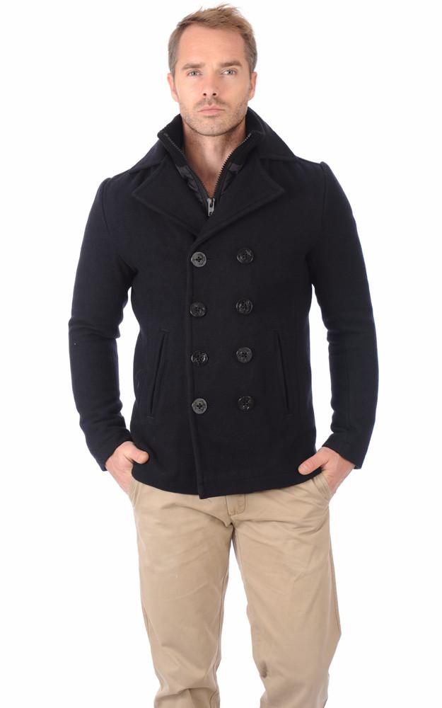 caban chaud en laine bleu marine schott la canadienne veste 3 4 textile marine. Black Bedroom Furniture Sets. Home Design Ideas