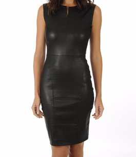 Robe Cuir Agneau Stretch Noir La Canadienne