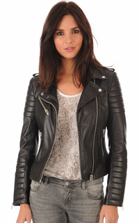 Blouson cuir Hipster Girl Noir