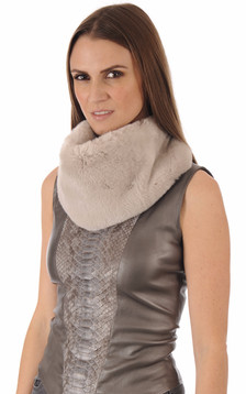 Snood en fourrure rex beige