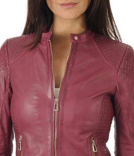 Blouson en cuir rose femme