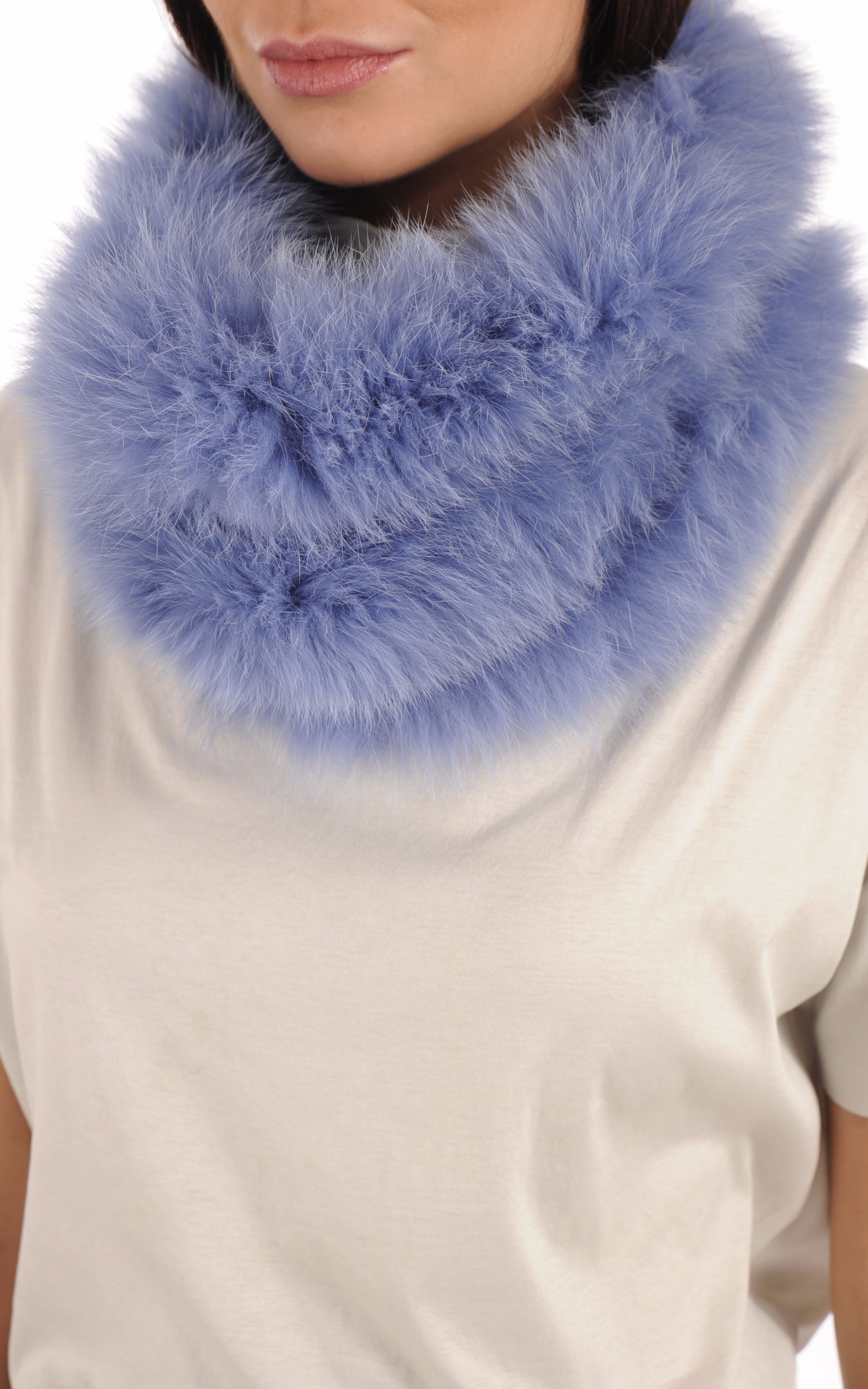Snood Fourrure Renard Bleu Giovi