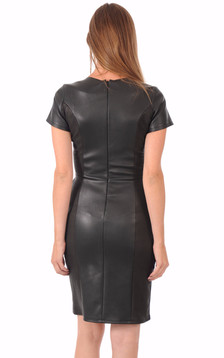 Robe Cuir Stretch Noir Reptile