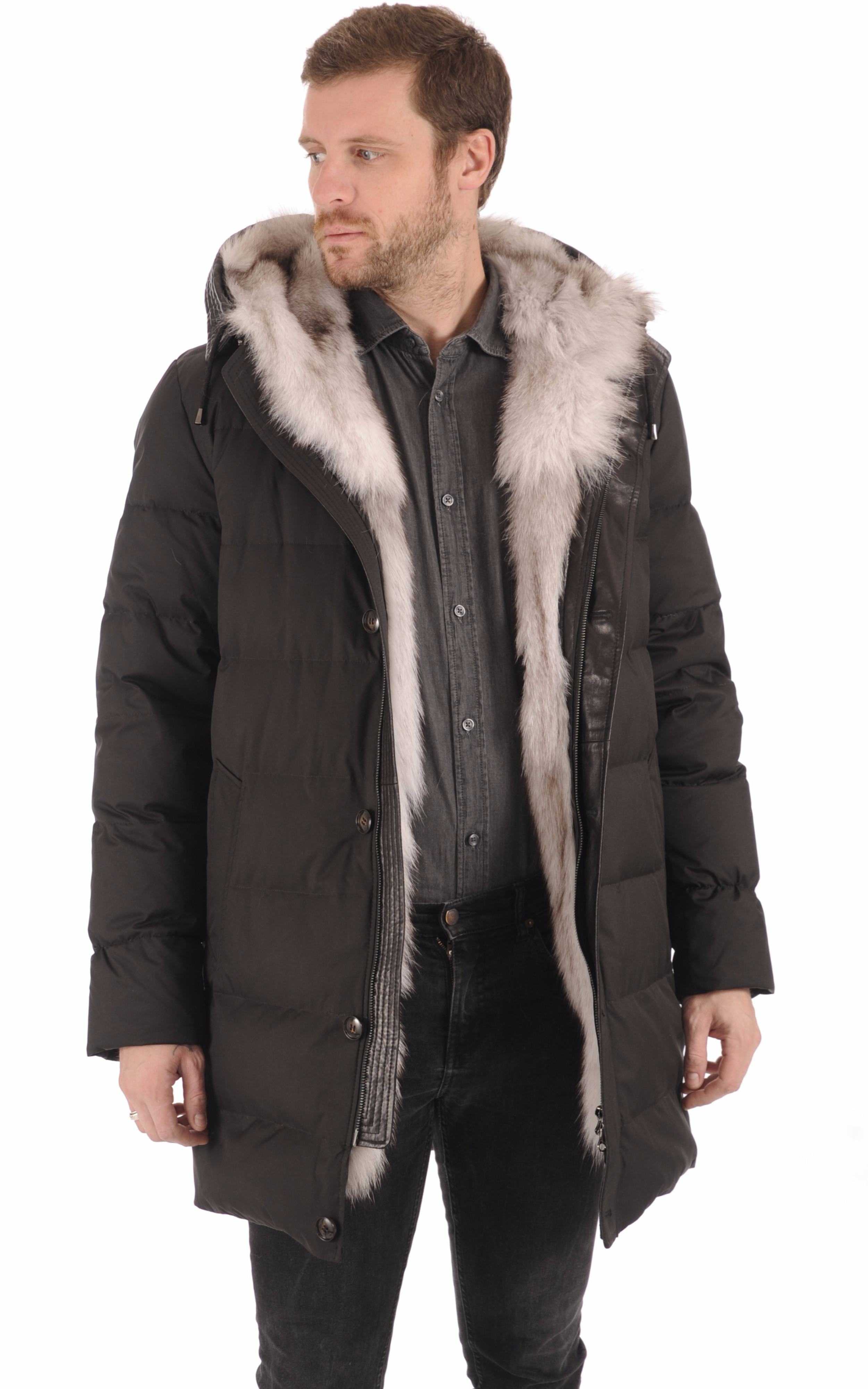 Doudoune noir fourrure renard La Canadienne