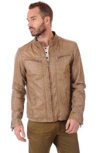 Blouson Taupe Cuir Homme1