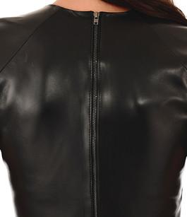 Robe cuir agneau noire La Canadienne