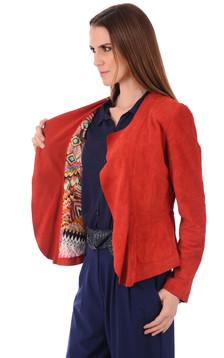 Veste cuir velours rouge