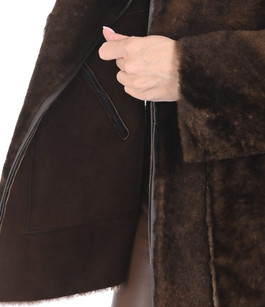 Veste réversible en agneau cognac Artico