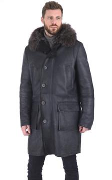 Manteau chic agneau et marmotte gris