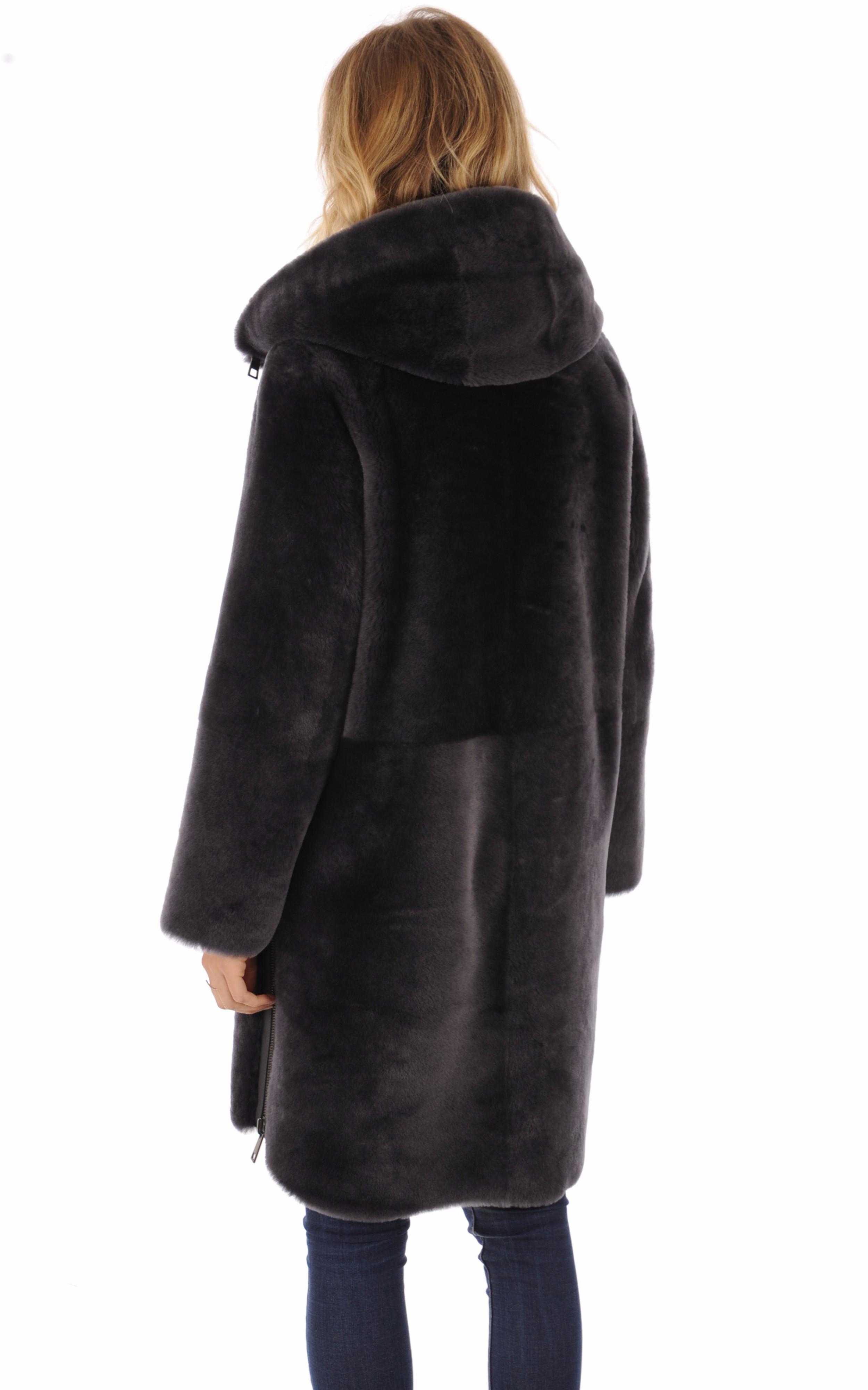 Manteau réversible peau lainée gris Suprema