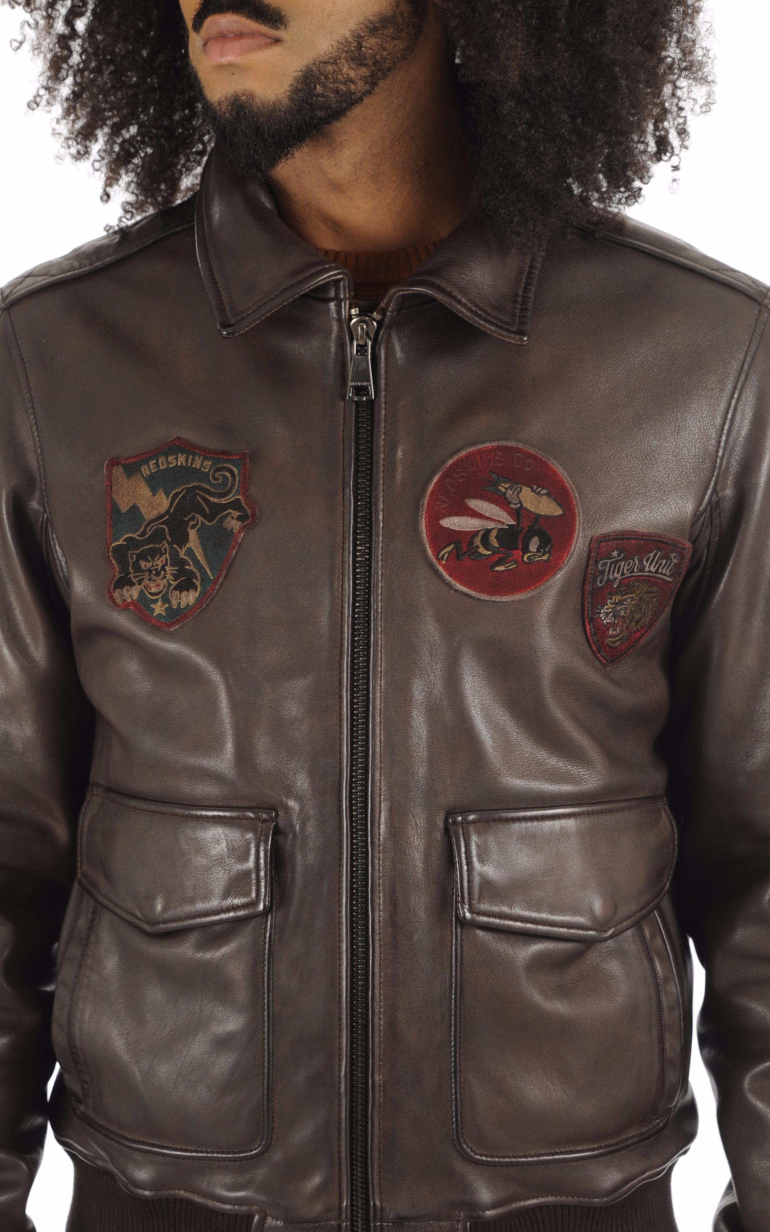 Blouson pilote patchs marron Redskins