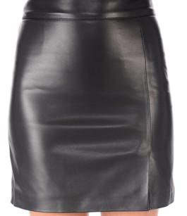 Jupe courte cuir noir La Canadienne