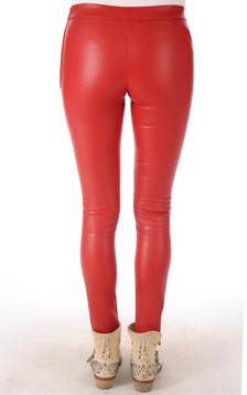 Leggings Cuir Rouge Vif