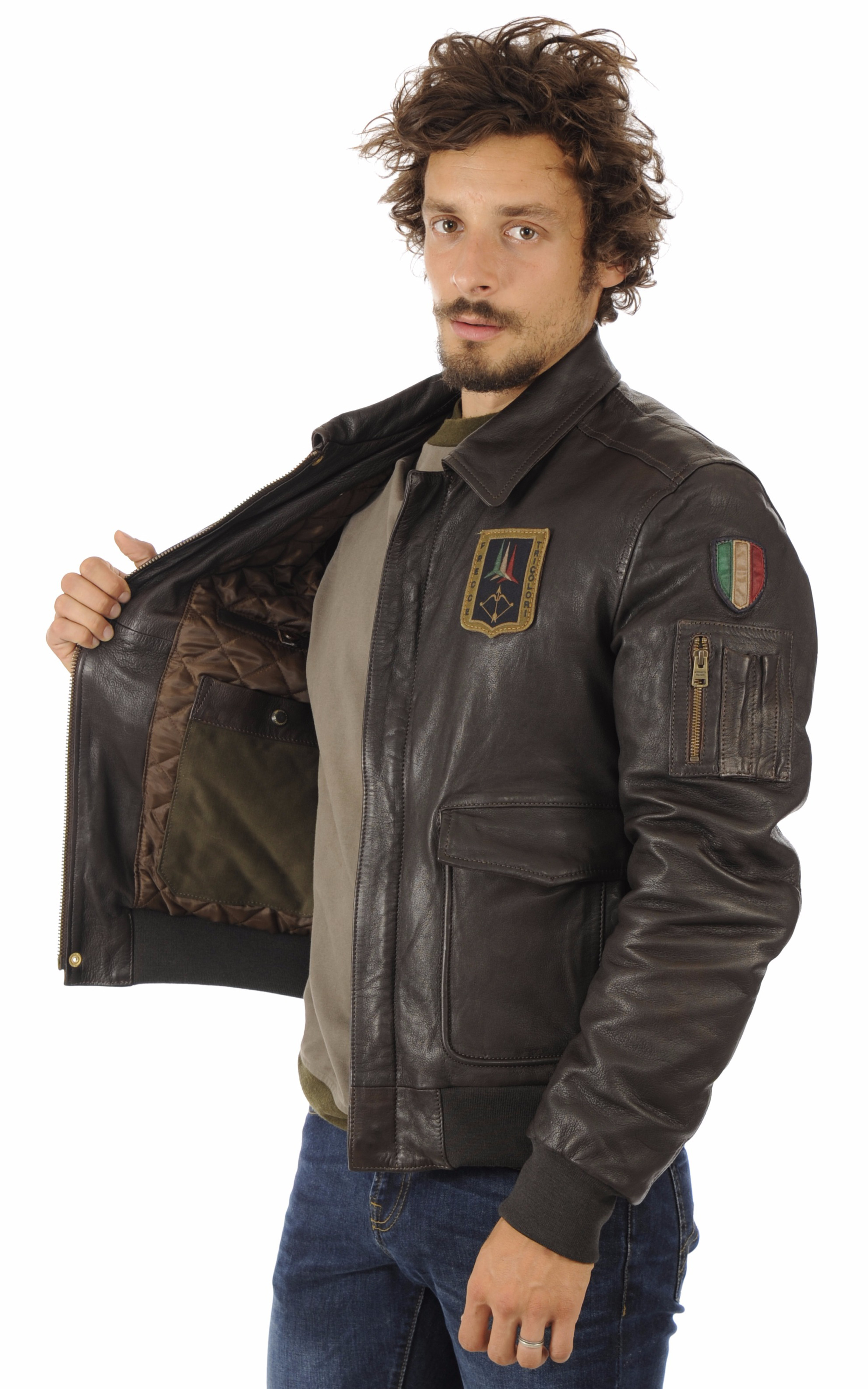 Blouson Cuir Marron Aviation Italienne Aeronautica Militare