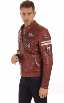 Blouson Motard Rouge Foncé Homme1