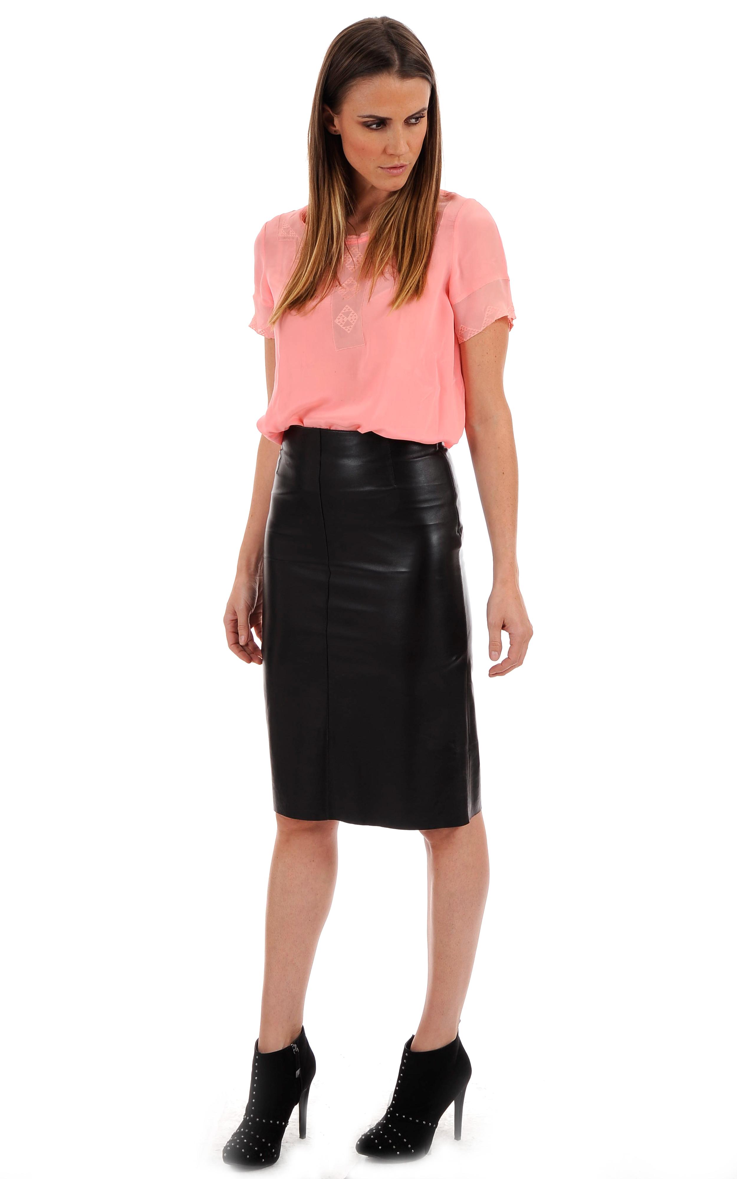 jupe cuir noire taille haute la canadienne la canadienne. Black Bedroom Furniture Sets. Home Design Ideas