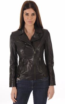 Blouson Confortable en Cuir Agneau Noir1