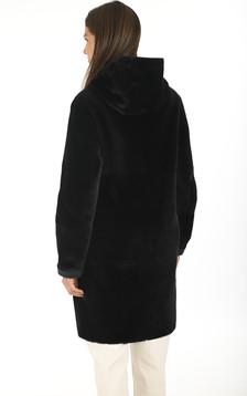 Manteau peau lainée marine