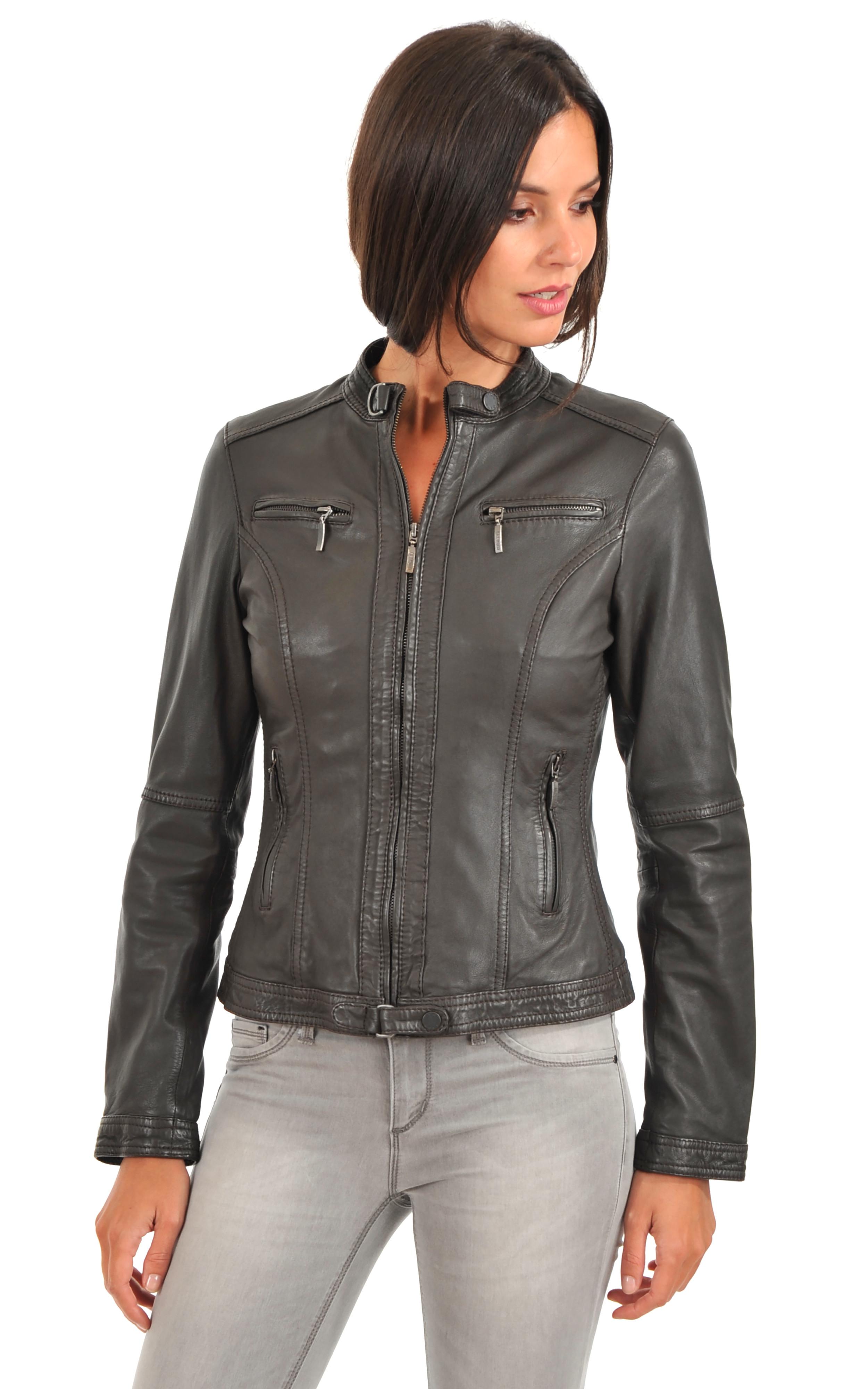 blouson motard femme oakwood la canadienne blouson cuir marron. Black Bedroom Furniture Sets. Home Design Ideas