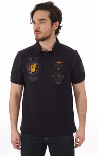 Polo Bleu Marine Patch Aero