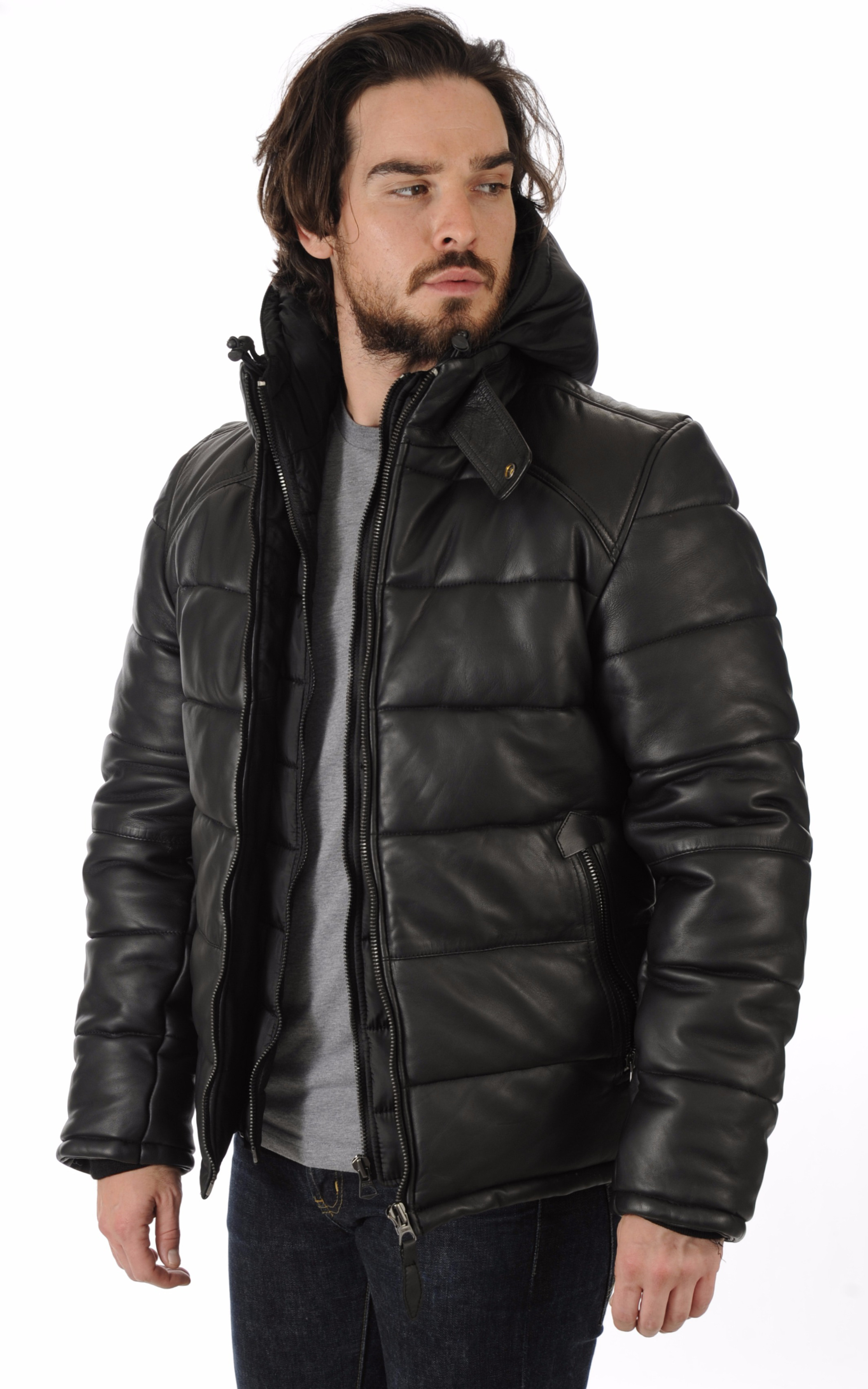 Doudoune en cuir noir lc6000 schott la canadienne doudoune parka cuir noir - Verlicht en cuir noir ...