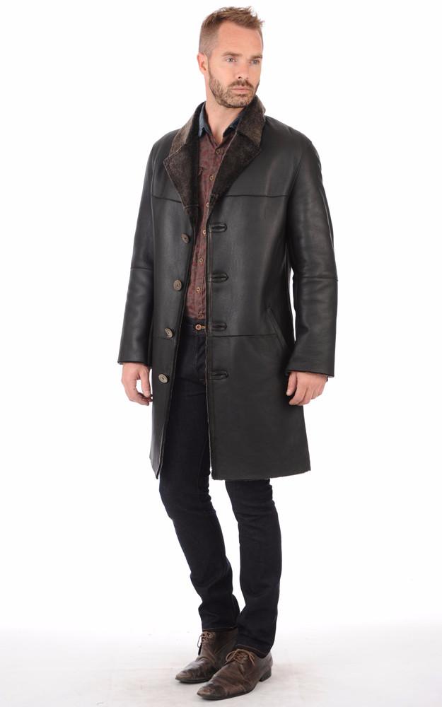 3 4 peau lain e homme la canadienne la canadienne veste 3 4 peau lain e noir. Black Bedroom Furniture Sets. Home Design Ideas