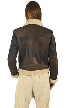 Blouson peau lainée marron
