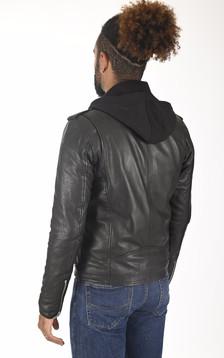 Blouson Rocker Hood noir